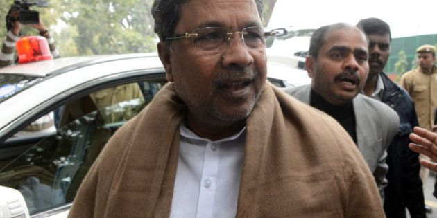 Chief Minister of the southern Indian state of Karnataka Siddaramaiah arrives to attend a Congress party...