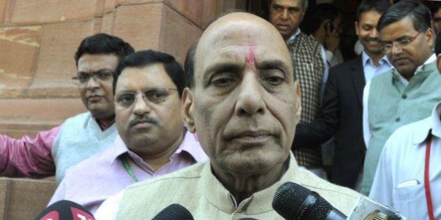 NEW DELHI, INDIA - MARCH 20: Union Home Minister Rajnath Singh talking to media personnel regarding Kathua...