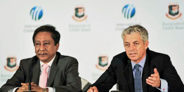 International Cricket Council (ICC) chief executive David Richardson, right, speaks as Bangladesh Cricket...