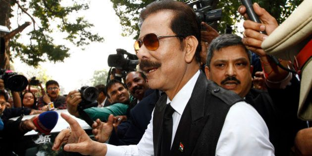 NEW DELHI, INDIA - MARCH 4: Sahara Chairman Subrata Roy arrives at the Supreme Court on March 4, 2014...