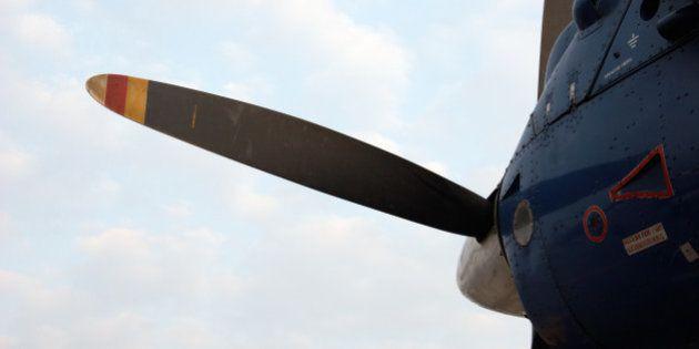Closeup of propeller airplane