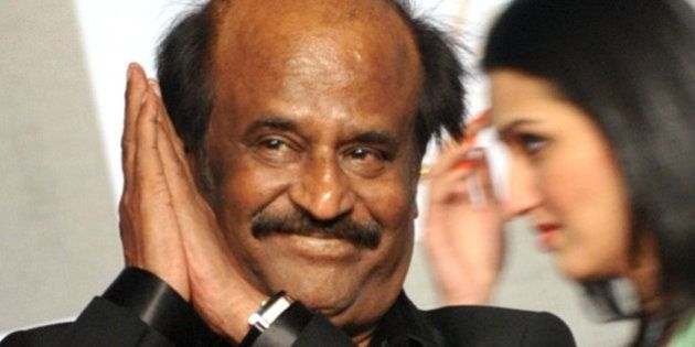 Indian actor Rajinikanth arrives to attend the 70th Birthday celebration of Bollywood Actor Amitabh Bachchan...