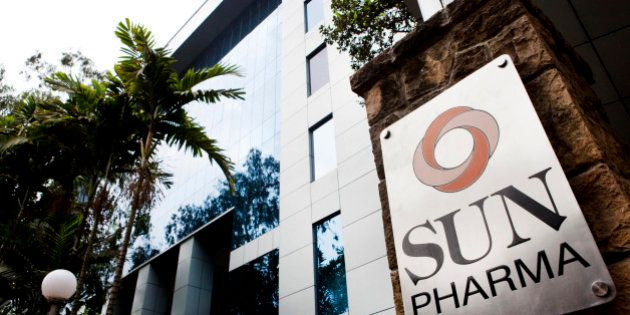 Sun Pharmaceutical Industries Ltd. signage is displayed outside the company's corporate office in the...