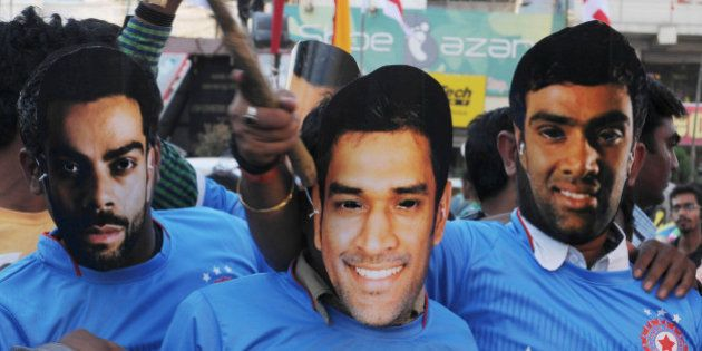 RANCHI, INDIA - MARCH 19: Cricket fans of the home town of team India Captain MS Dhoni celebrating the...