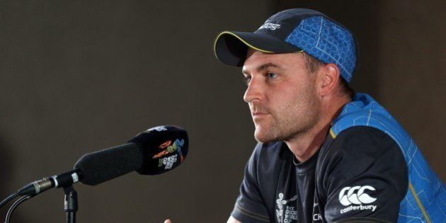 New Zealand's captain Brendon McCullum speaks to the media ahead of their 2015 Cricket World Cup semi...