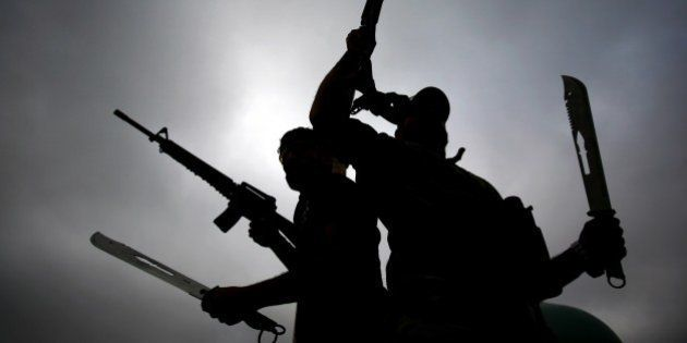 Iraqi fighters from the Saraya al-Salam (Peace Brigades), a group formed by Iraqi Shiite Muslim cleric...
