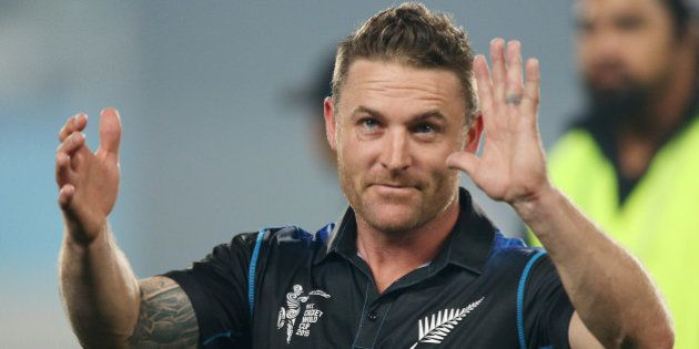New Zealand captain Brendon McCullum wave sot the crowd following their four wicket win over South Africa...