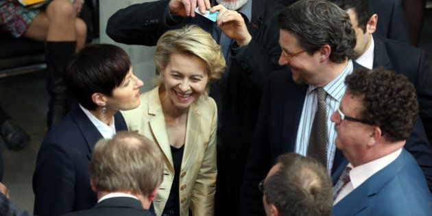 German Labour Minister Ursula von der Leyen . third left, takes part in the vote on quotas for women...