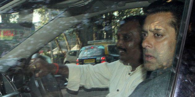MUMBAI, INDIA - MARCH 13: Bollywood actor Salman Khan after the hearing of his 2002 hit-and-runcase at...
