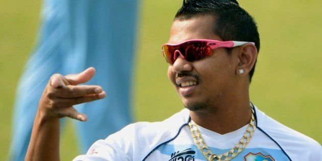 West Indies cricketer Sunil Narine attends the training session at The Sher-e-Bangla National Cricket...