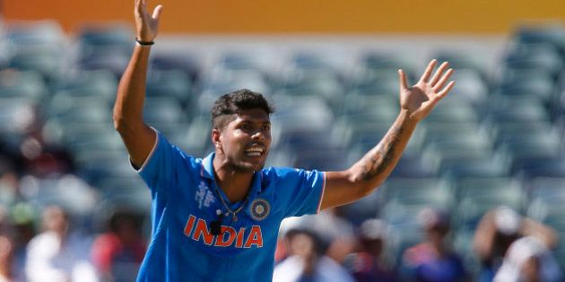 India's Umesh Yadav appeals for a wicket during their Cricket World Cup Pool B match against the United...