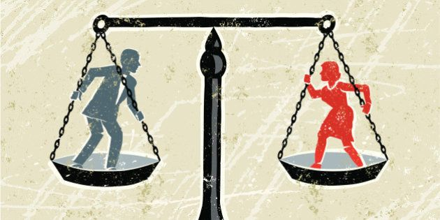 Equality! A stylized vector cartoon of a man and a woman being weighed on scales,reminiscent of an old...