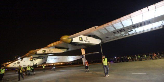The Solar Impulse 2 with pilot Bertrand Piccard at the controls of the revolutionary plane taxis after...