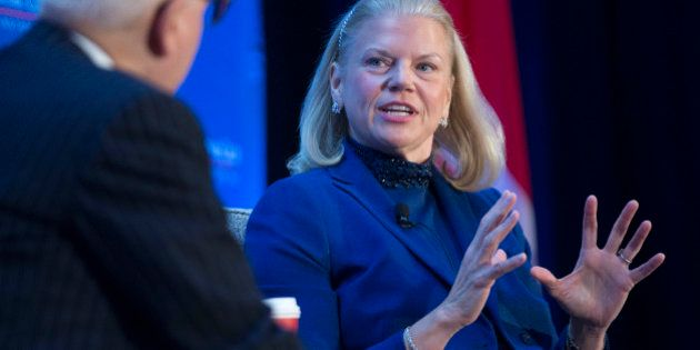 Virginia 'Ginni' Rometty, chief executive officer of International Business Machines Corp. (IBM), speaks...