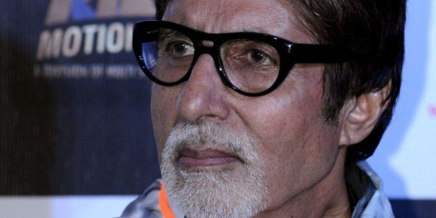Indian Bollywood actors Amitabh Bachchan looks on during a promotional event for the forthcoming Hindi...