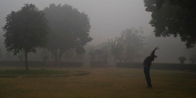 An Indian man exercises in a park on a cold foggy morning in New Delhi, India, Wednesday, Dec. 24, 2014....