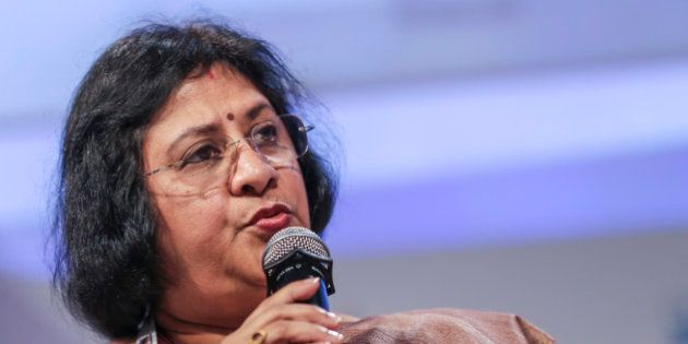 Arundhati Bhattacharya, chairman of State Bank of India, speaks at the Annual Bankers' Conference in...