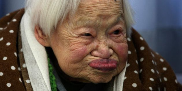 OSAKA, JAPAN - MARCH 05: Misao Okawa, who is recognised by Guinness World Records as the world's oldest...