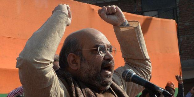 NEW DELHI, INDIA FEBRUARY 5: BJP president Amit Shah during the rally in New Delhi.(Photo by Pankaj Nangia/India...