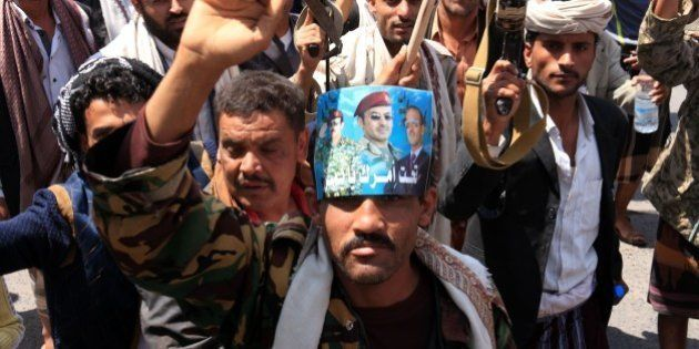 IBB, YEMEN - APRIL 01: Supporters of Shiite Houthi group march during a protest against Saudi-led operations...