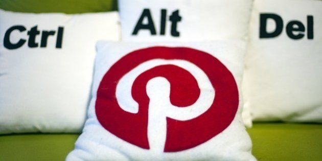 Decorative pillows set the scene at a Pinterest media event at the company's corporate headquarters office...
