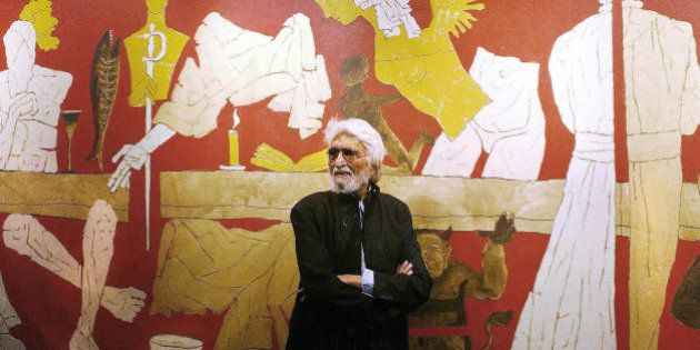 (FILES) In this file picture taken on January 14, 2004, Indian artist Maqbool Fida (M.F) Hussain poses...