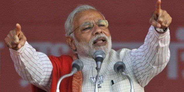 NEW DELHI, INDIA FEBRUARY 4: Prime Minister Narendra Modi addressing an election rally at Ambedkar Nagar...