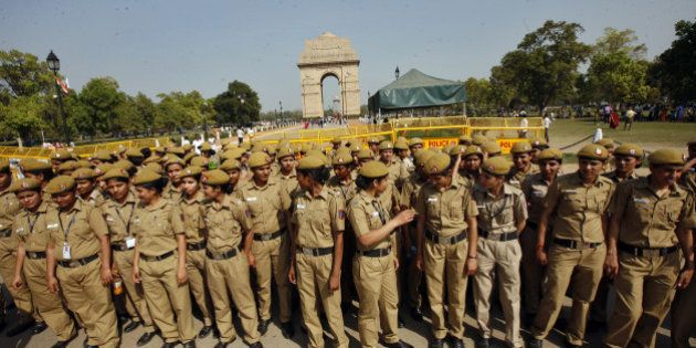 NEW DELHI, INDIA - MARCH 24: Delhi policewomen deputed in front of India Gate during the protest march...