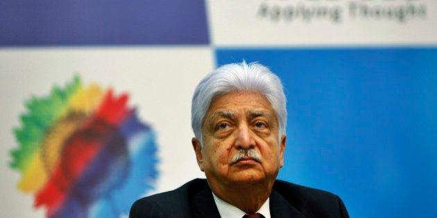 Wipro Ltd. Chairman Azim Premji attends a press conference after announcing the company's quarterly financial...