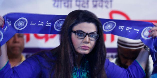 MUMBAI, INDIA - JUNE 28: Bollywood actor turned poltician Rakhi Sawant after she joined Republican Party...