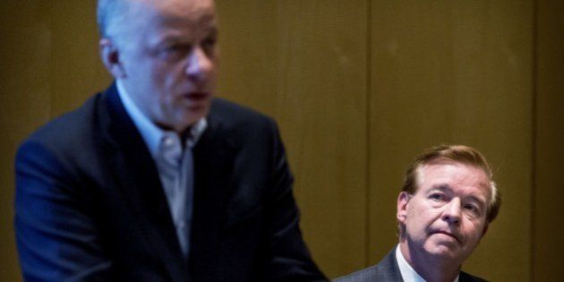 David J. Bronczek (R), president and chief executive officer of FedEx Express, and Tex Gunning (L), CEO...