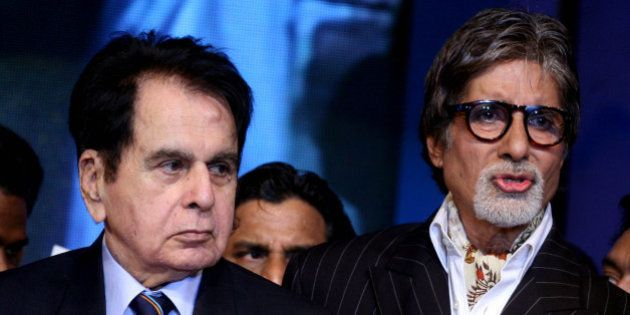 "Indian Bollywood actors Amitabh Bachchan (R) and Dilip Kumar (L) attend the ""143rd Dadasaheb Phalke..."
