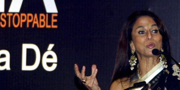Indian author and critic Shobhaa De gestures during the launch of her book 'Superstar India - from Incredible...