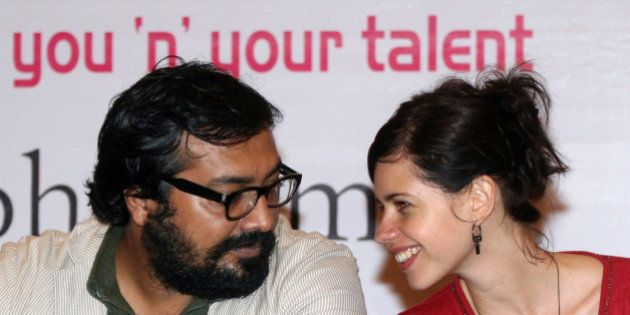 Indian Bollywood film actress Kalki Koechlin (R) and Indian film maker Anurag Kashyap attend a press...