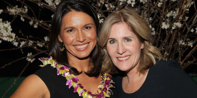 WASHINGTON, DC - MARCH 18: Rep. Tulsi Gabbard and Elizabeth Thorp attend the ELLE and HUGO BOSS Women...