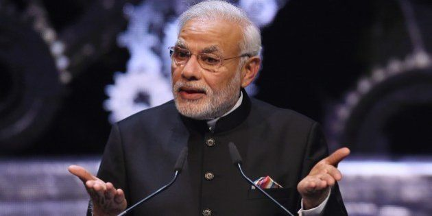 Indian Prime Minister Narendra Modi attends the official opening of the Hannover Messe industrial trade...