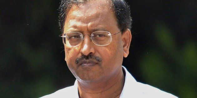 Indian former chairman of outsourcing giant Satyam, B. Ramalinga Raju, arrives to attend the final judgement...