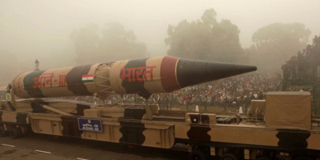 The Indian Agni III missile is displayed during the Republic Day parade in New Delhi, India, Tuesday,...
