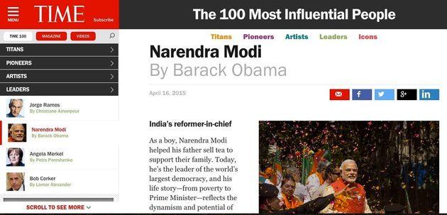 Obama Writes Modi's Profile For Time Power