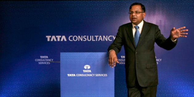 Tata Consultancy Services Chief Executive Officer Natarajan Chandrasekaran speaks at a press meet in...
