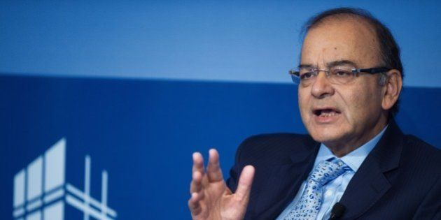Indian Finance Minister Arun Jaitley delivers remarks at the Peterson Institute for International Economics...