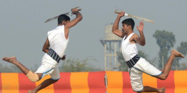 Indian soldiers perform the Indian martial art Kalaripayattu during an Army Mela (fair) and exhibition...
