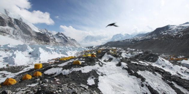 In this Saturday, April 11, 2015 photo, a bird flies over tents set up for climbers at Everest Base Camp...