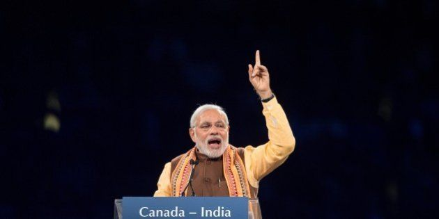 Indian Prime Minister Narendra Modi addresses a crowd of nearly 10,000 during a rally at Ricoh Coliseum...
