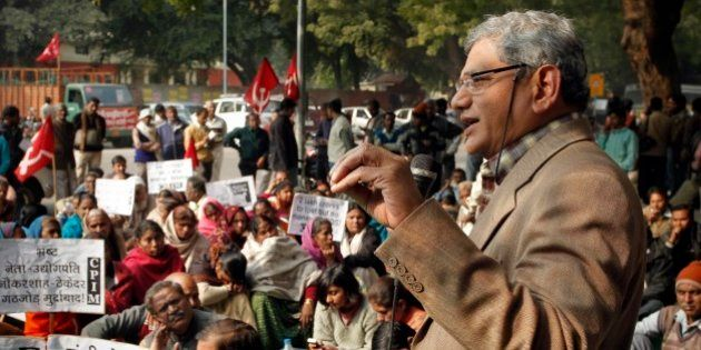 Communist Party of India (Marxist) leader Sitaram Yechury speaks at a protest against inapt handling...