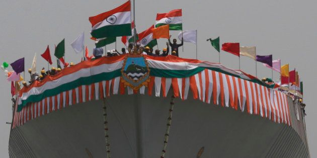 The Indian Navy's newly built warship INS Visakhapatnam sails into the Arabian Sea during its launch...
