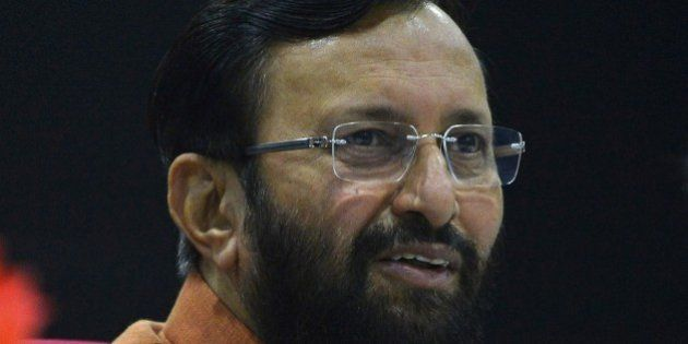 Prakash Javadekar, Indian Union Minister for Environment and Forests, speaks to media at a press conference...