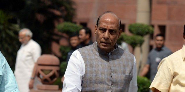 Indian Home Minister Rajnath Singh leaves after a Bharatiya Janata Party (BJP) parliamentary committee...