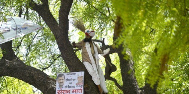 Indian farmer Gajendra Singh stands on a tree before committing suicide during an Aam Aadmi Party rally...
