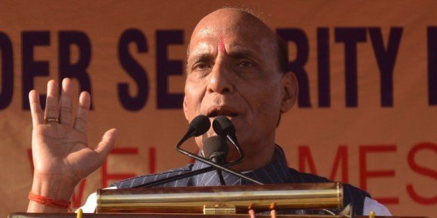Union Home Minister Rajnath Singh speaks during a closing ceremony for the Camel Safari expedition in...